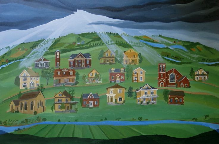 """Hanover in the Queen's Bush, acrylic on stretched canvas measures 24"""" x 36"""". Pictured amonst the waters of the Saugeen River valley, the Marl Lakes, in southern Grey County, Ontario"""