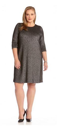 SILVER GREY PLUS SIZE HOLIDAY FASHION METALLIC KNIT DRESS #Silver #Grey #Plus #Size #Fashion #Metallic #Knit #Chic #Stylish #Holiday #Fashion #Holiday_Dresses  #Plus_Size_Fashion