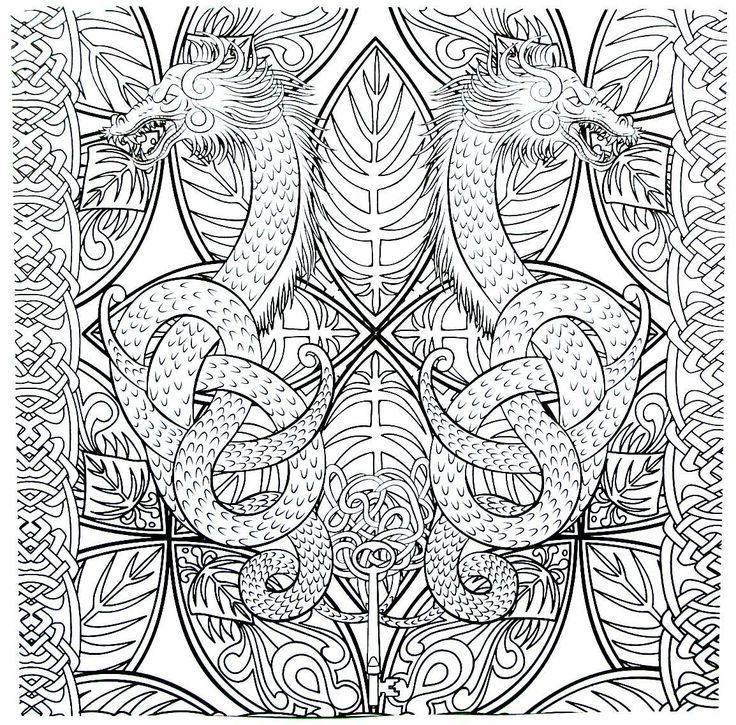 Double Dragon Detailed Coloring Book Page For Adults