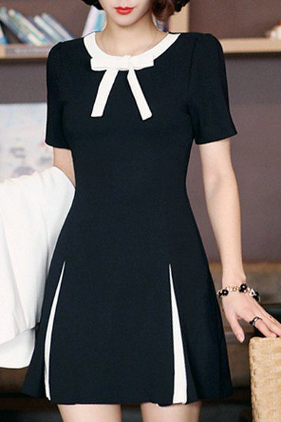 OL Style Short Sleeve Bowknot Design Women's Mini Dress verão Summer 2017 Black and White laço vestido preto e branco fashion primavera 2016