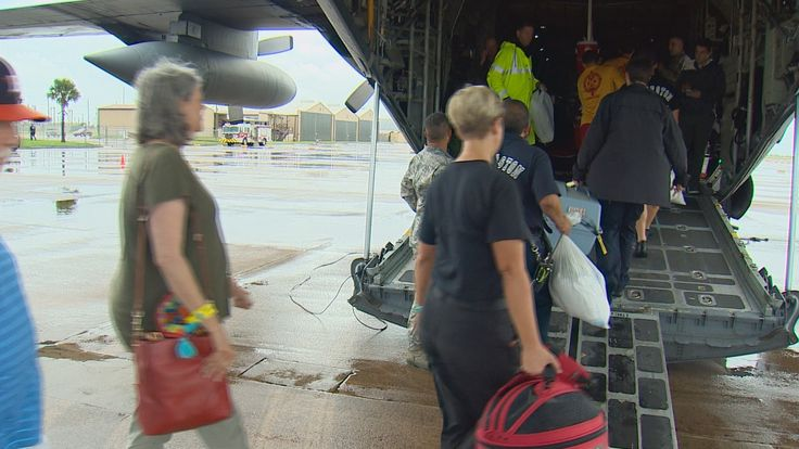 Texans helping Texans. Hurricane Harvey Relief Efforts. Scholes International Airport, Galveston, Texas.