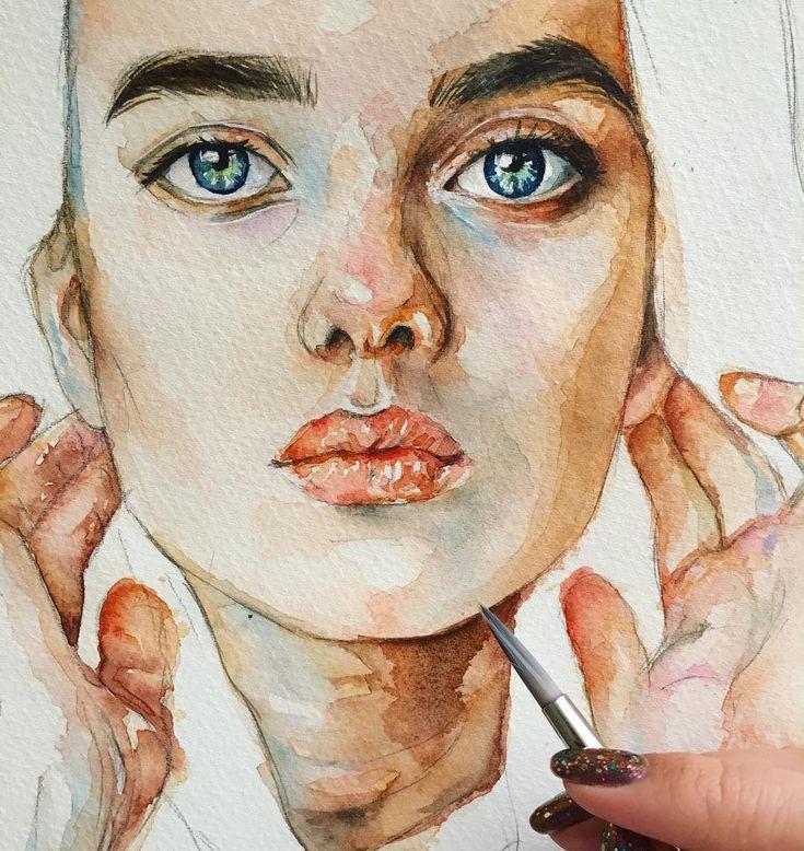 Портрет рисунок акварелью
