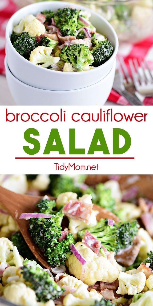 Favorite Broccoli Cauliflower Salad Recipe In 2020 Broccoli Cauliflower Salad Delicious Salads Cauliflower Salad