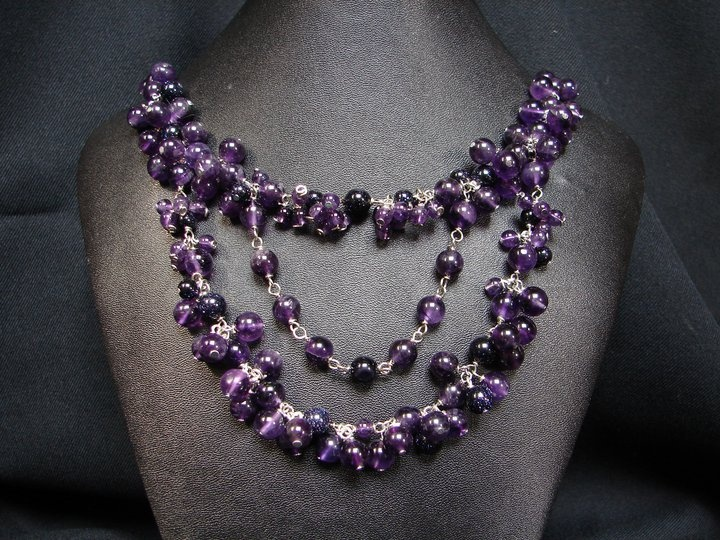 Amethyst and Blue Goldstone necklace.