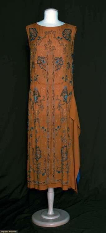 1920s. embroidery, blue accents