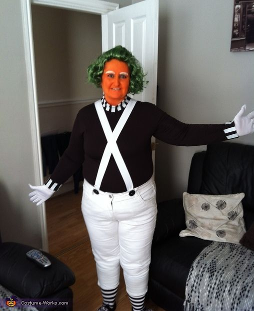 Oompa Loompa Costume - 2013 Halloween Costume Contest via @costumeworks. With pompoms on shoes, Wonka Chocolate bar made from pencil case covered with aluminum foil, and construction paper.