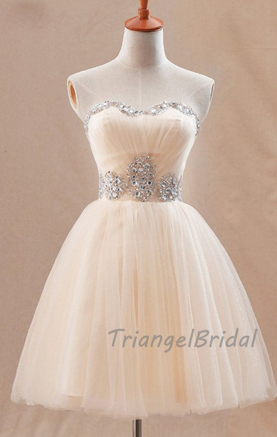 Champagne Tulle Beading Strapless Knee Length by TriangelBridal, $149.00 Maybe this in a light purple or Light Blue