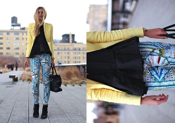 via http://lookbook.nu/look/3090717-Fancy-Pants: A Mini-Saia Jeans, Prints Pants, Peplum Tops, Knits Jeans, Jessica Stein, Peplum Color Pink, Rag And Bones, Fancy Pants, Yellow Blazers