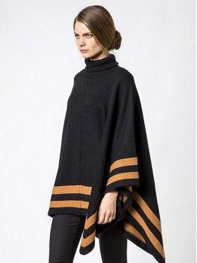 Patrizia Pepe Cappotto Poncho tricot in Lana e Cashmere Black Brown sugar