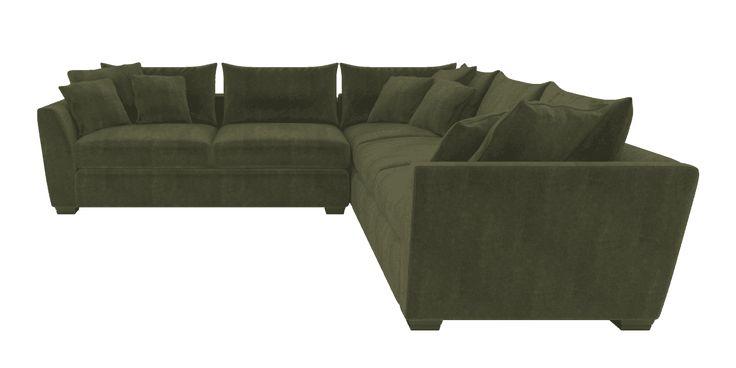 Green Corner Sofa Scarborough cotton velvet Forest Fern | Hambledon corner sofa