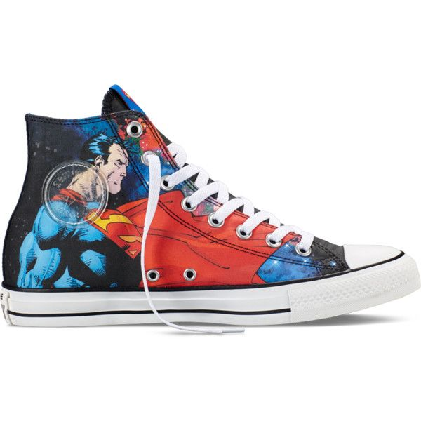 Converse Chuck Taylor DC Comics Superman – blue/black/red Sneakers ($60) ❤ liked on Polyvore featuring shoes, sneakers, lullabies, converse high tops, black shoes, converse sneakers, red trainer and black high tops
