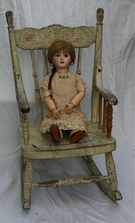 Vintage Doll in Sweet Rocking Chair - 170 Best Children's Chairs Images On Pinterest Antique Chairs