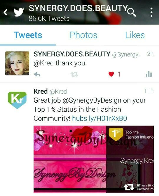 I got a #congratulations letter about this today and then I saw the #tweet: . . . . . Ranked Top 1% Status, #SocialMediaInfluencer, in the #Fashion Community.  . . . . .  #Thanks to @Kred, @kred.empire and my #followers! It means so very much to me... Thank you!