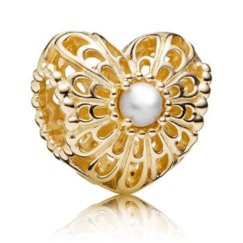 BEAD PANDORA VINTAGE OPENWORK HEART WITH FRESHWATER PEARL SET IN CENTRE 14CT YELLOW GOLD - Jons Family Jewellers