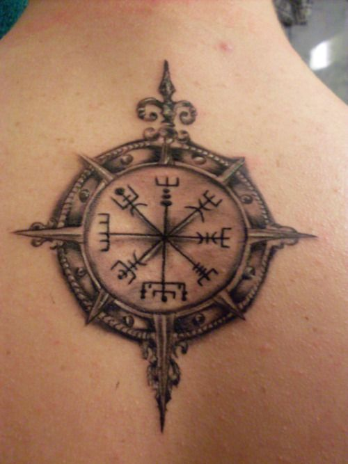 Vegvísir tattoo! I think I found the one I want!!! Vegvisir, one will not lose ones way in stormy weather. Icelandic origin.