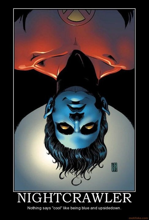 """#Marvel #comics' #Nightcrawler: 'cuz nothing says """"cool"""" like being blue and upside-down."""