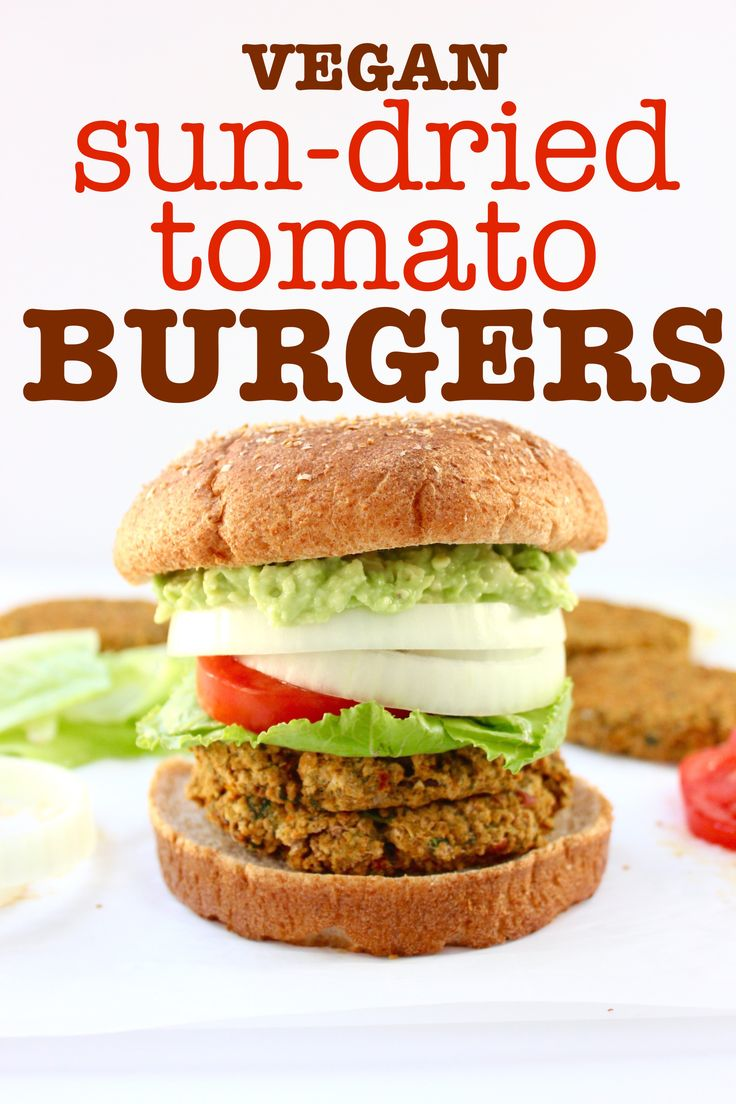 Oven-baked vegan burger patties made with beans, veggies, whole grain bread crumbs, and savory seasonings. Only 12 ingredients, less than 1 hour, soy-free.   Vegan Sun-Dried Tomato Burgers   So Much Yum