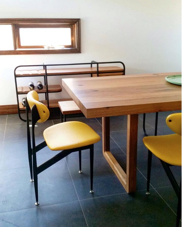 Beautifully featured  recycled timber dining table with curved detailing on the bases as a nod to Art Deco design.  Elegant sideboard was produced in collaboration with master craftsman @quazidesign and is the absolute cherry on top in this space. Timber used for the table was salvaged from the old North Wharf decking at the Docklands - great #Melbournemade story.