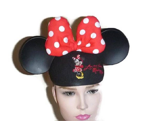 70s Vintage MINNIE MOUSE Ears Cap Red & White Polka Dot Bow