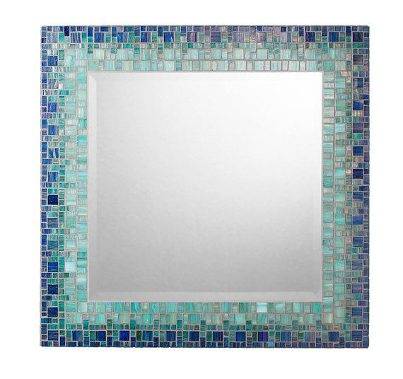 Mosaic Wall Mirror Deep Blue Teal Square Por Opusmosaics En Etsy 29900