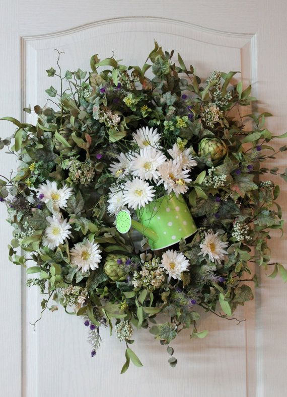Country Spring/Summer Wreath Artichokes by FloralsFromHome on Etsy