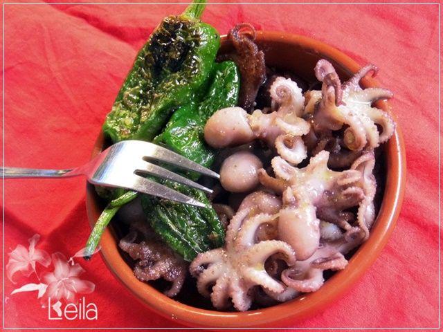 La Nueva Cocina de Leila: Pulpitos con pimientos del padron a la plancha