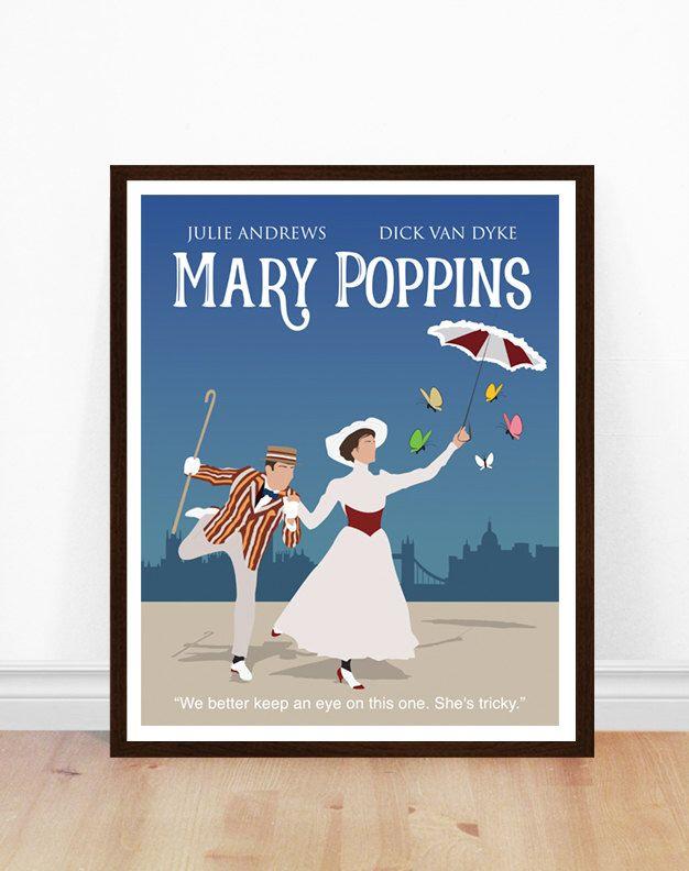 Mary Poppins Poster, minimalistische Plakat, 1960er Jahre Filmplakat, Plakatkunst, minimalistische Kunst von PoppermostPrints auf Etsy https://www.etsy.com/de/listing/513203981/mary-poppins-poster-minimalistische