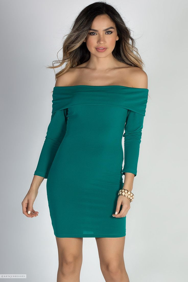 Short Bodycon Off Shoulder Sexy Green Dress with Sleeves