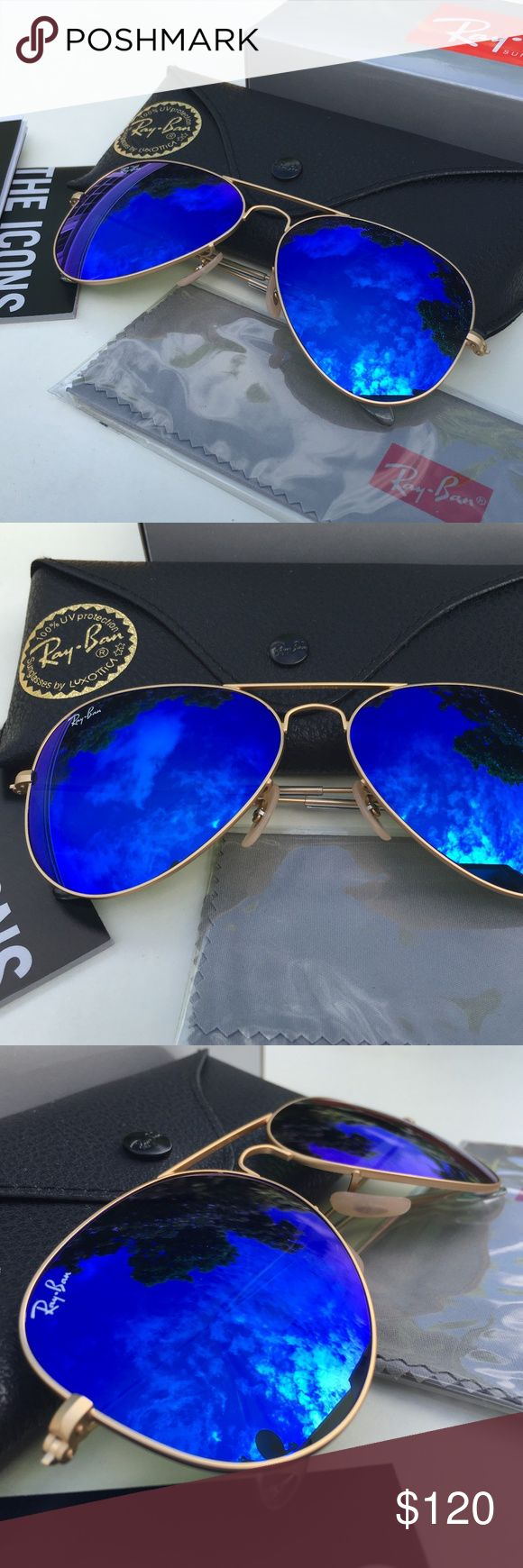 RAY-BAN AVIATOR Sunglasses - Blue Flash/Gold Frame 100% AUTHENTIC & BRAND NEW  Original RAY-BAN AVIATOR Sunglasses Blue Flash - Gold Frame Model: RB3025 - 112/17 (58mm & 62mm)   -----------------------------------------------------------------   Product Description: Brand: Ray-Ban (100% Authentic) Lens Color: Blue Flash Frame Color: Gold Model: RB3025 Color Code: 112/17 Size: 58-62mm/14/3N Gender: Unisex Made: Italy  Package Includes:  - Ray-Ban Outer Paper Box - Ray-Ban Carrying Case…