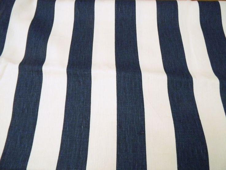 1.1 YARDS KRAVET WINDSOR SMITH STRIPE NAVY INDIGO BLUE LINEN FABRIC OUTLET  | eBay