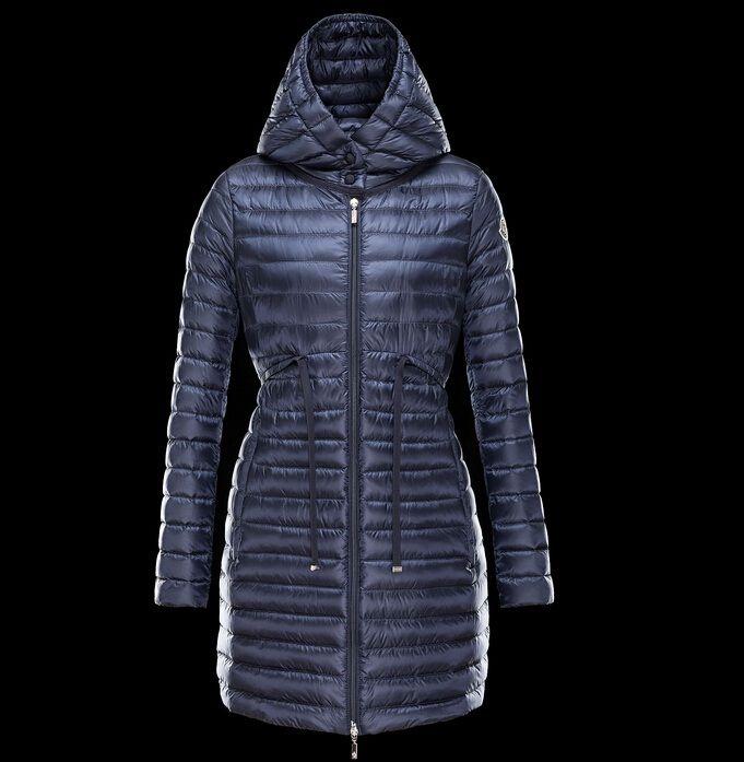 Achetez moncler BARBEL femme manteau doudoune longue capuche bleu avec flocage