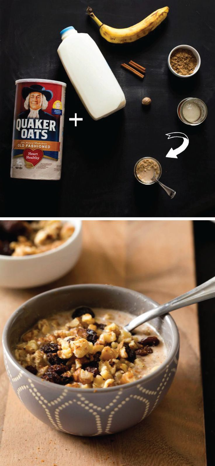 Enjoy the flavors of your favorite dessert for breakfast! This delicious Oatmeal Cookie Overnight Oats make-ahead breakfast recipe is made with Quaker® Old Fashioned Oats, banana, cinnamon, raisins, and nuts.