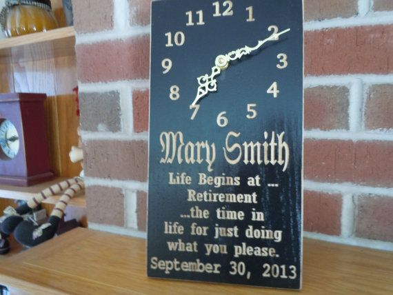 Personalized Retirement Clock Custom Made Carved by TKWoodcrafts
