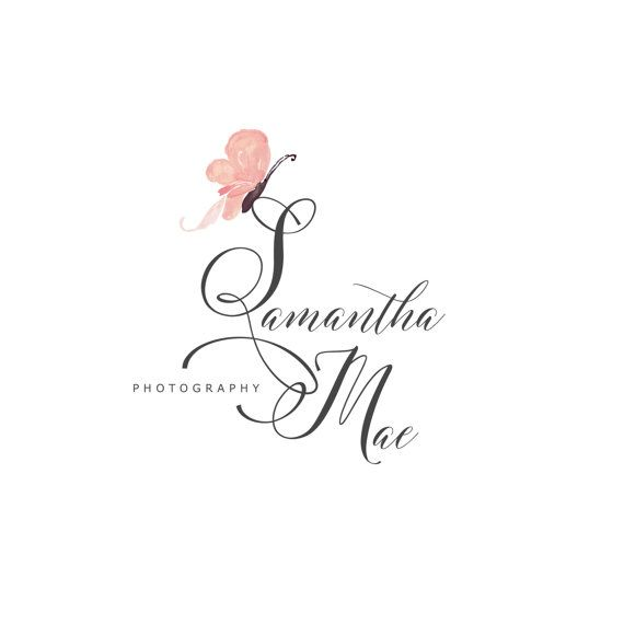 Premade Logo Photography Watermark Design Predesigned Watercolor Laurels Blog Butterfly