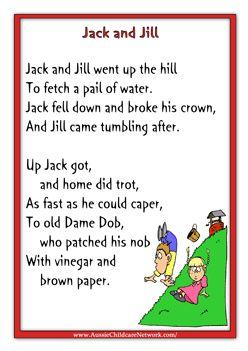 Jack And Jill Rhymes Www Emb Mother Goose Nursery Preschool Kids Songs