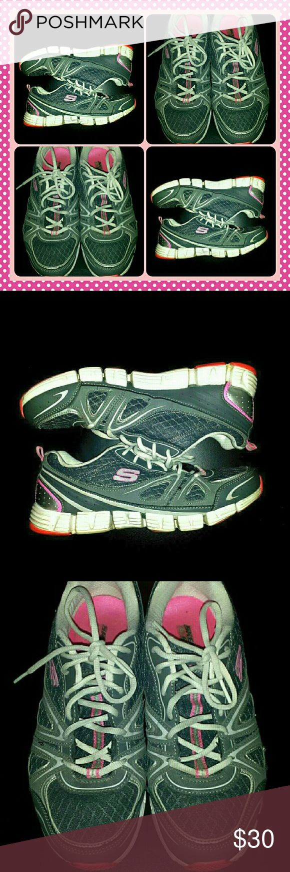 🔮 SKECHERS PINK SILVER ATHLETIC TENNIS SHOES AWESOME LOOKIN  ladies SKECHERS athletic shoes. ..they are a LADIES SIZE-10 and in AWESOME pre-luved condition Skechers Shoes Athletic Shoes