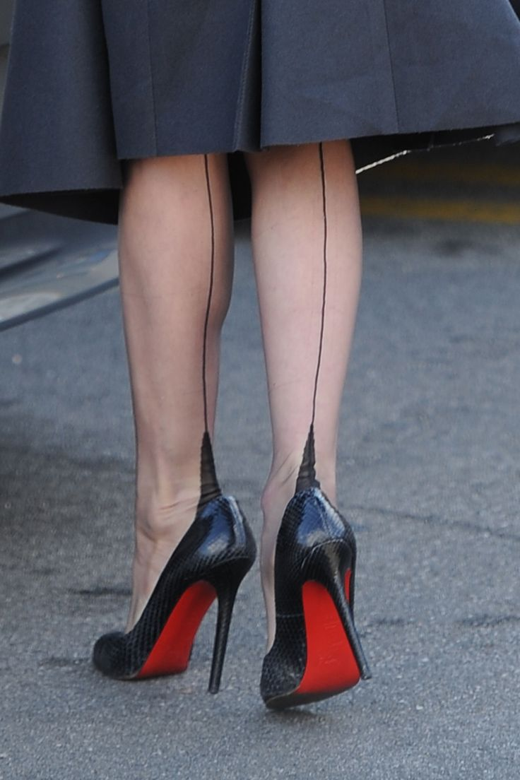 DVT in Cervin Stockings and Louboutin Python Heels #highheelsstockings