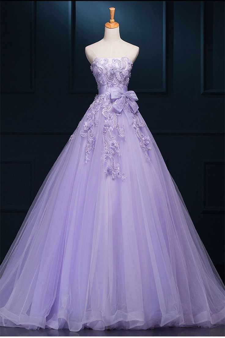 Ball Gown Wedding Dresses, Purple Ball Gown Wedding Dresses, Ball Gown Long Wedding Dresses, 2017 Strapless Long Purple Lace Big Wedding Dress With Bow