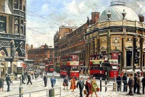 Pete Lapish - City Square - Boar Lane - Leeds - West Yorkshire - England - No 3 Horsfield Tram is heading for Roundhay and a Chamberlain Tram is heading for Kirkstall - 1953