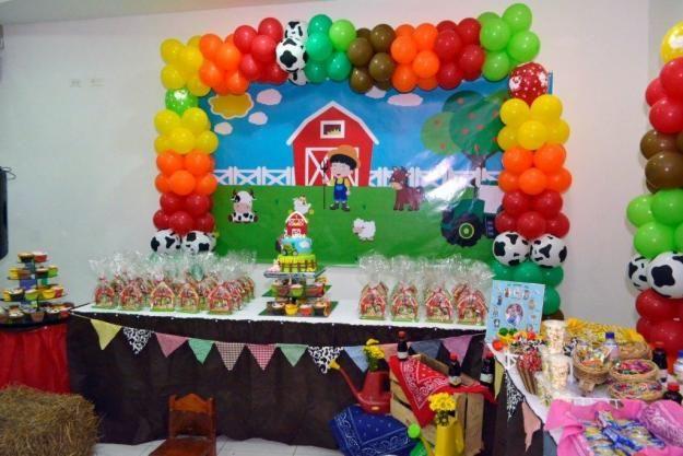 Decoraci n para fiesta infantil motivo de granja posot Ornamentacion con globos