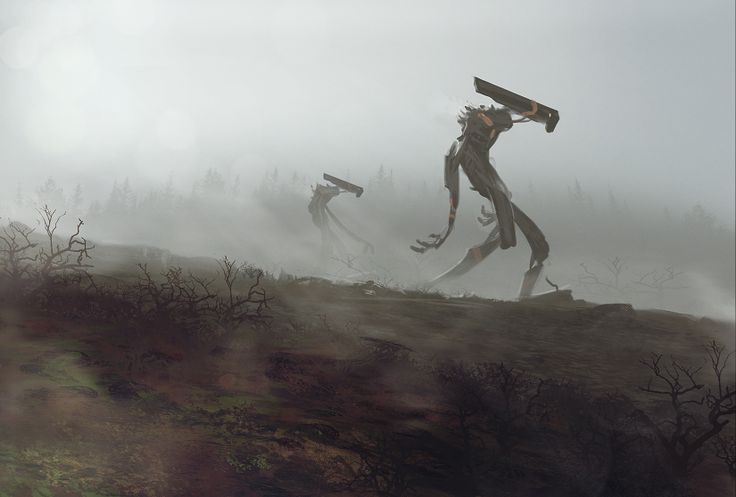 Robots in the Mist by Exphrasis (Geoffrey Ernault)