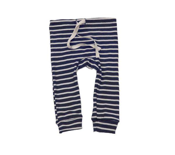 organic cotton drawstring striped leggings - blue/natural                         – mabo
