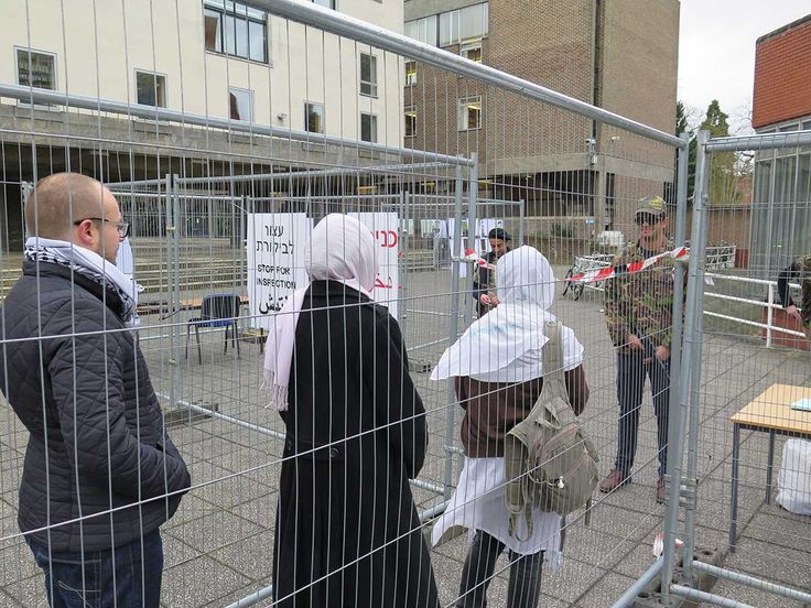 An Israeli military checkpoint was recreated at Cambridge University - Photo credit- University of Cambridge Palestine Society