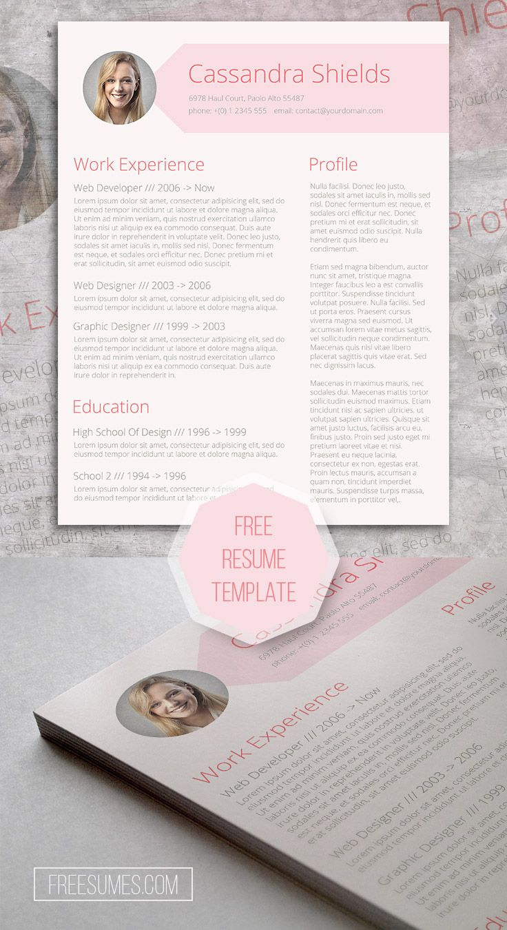 FREE Modern Pink Resume Template for MS