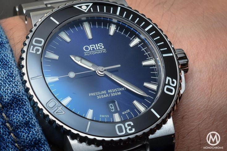 """A MONOCHROME hands-on assessment on the #Oris #Aquis Date with gradient blue dial. """"...Talking about dive watches, there is one that has to be deeply considered, a watch that could be sold with the motto """"no bullshit, just a cool, solid dive watch that gives you a lot for your money... To be simple, the Oris Aquis Date is all what a dive watch – and thus a proper tool, not a desk diver – should be..""""."""