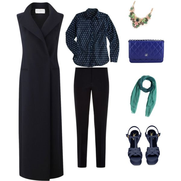 Navy Blue by muslimco on Polyvore featuring polyvore, mode, style, J.Crew, Amanda Wakeley, Armani Collezioni, Yves Saint Laurent, Chanel and Burberry