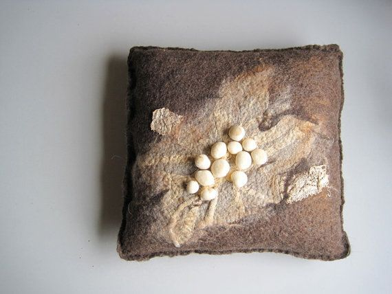 Pillow cushion felt felted handmade OOAK brown by woolpleasure, $80.00