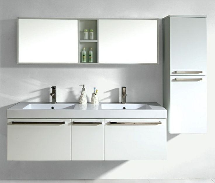 White color wall hung bathroom vanity cabinet www.allbathroomcabinet.com               VITUN BATHROOM