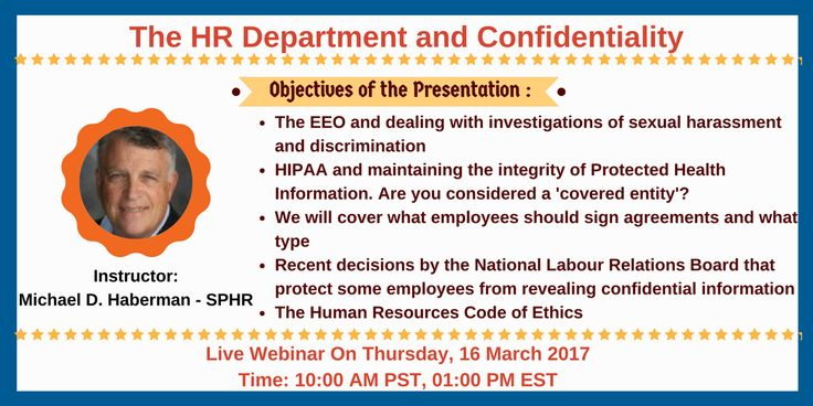 Webinar On The Hr Department And Confidentiality Check Out This