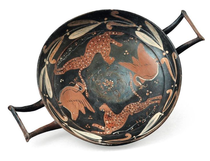 Paestan kylix, 4th century B.C. With panthers and birsds, 29 cm diamater with handles. Private collection